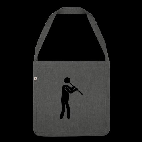 Oboist Piktogramm schwarz - Schultertasche aus Recycling-Material