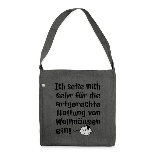 Wollmaus Staub Putzen Haushalt Wohnung Spruch - Schultertasche aus Recycling-Material