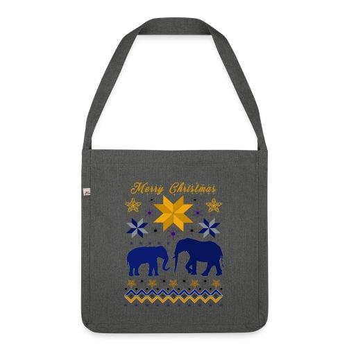 Merry Christmas I Elefanten - Schultertasche aus Recycling-Material