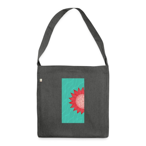 sunflowerdrawingonwhitewithlaceornamentd - Borsa in materiale riciclato