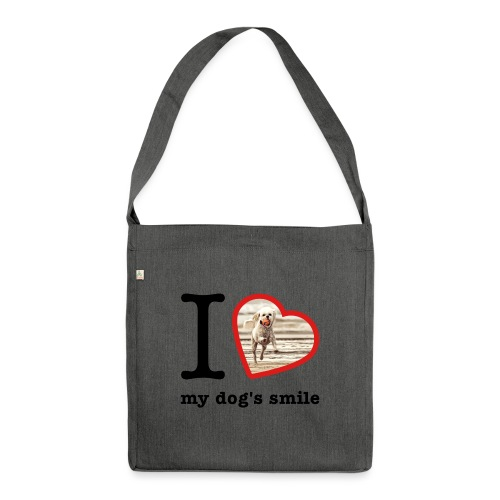 I love my dog's smile :) dog smile - Shoulder Bag made from recycled material