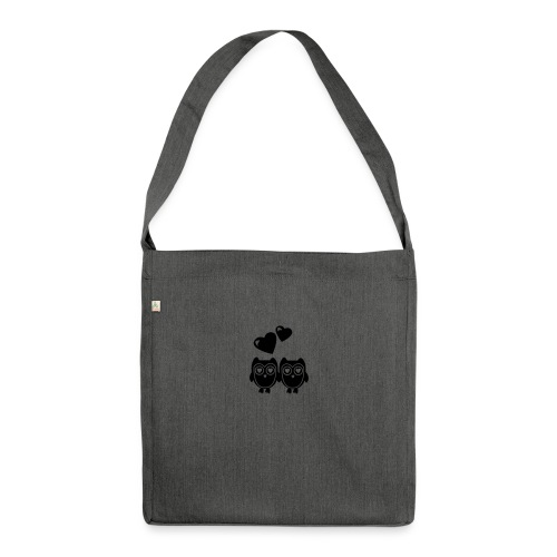 verliebte Eulen - Schultertasche aus Recycling-Material