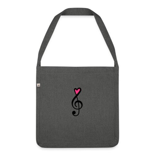 Notenschlüssel Herz rot Musik - Schultertasche aus Recycling-Material