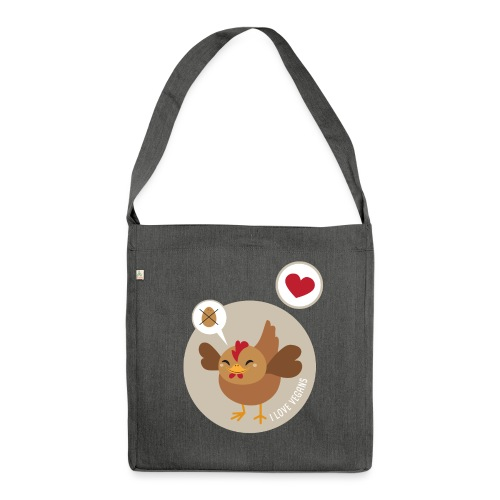 I love Vegans - Shoulder Bag made from recycled material