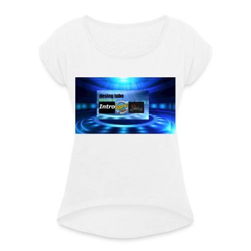 full banner t-shirt - Vrouwen T-shirt met opgerolde mouwen