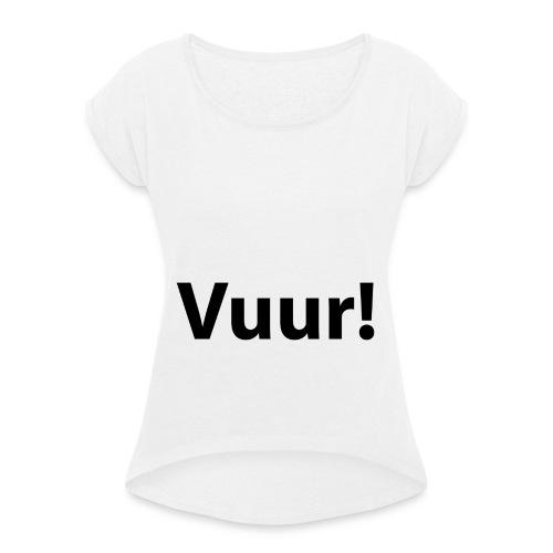 tshirt_PNG5431-png - Vrouwen T-shirt met opgerolde mouwen
