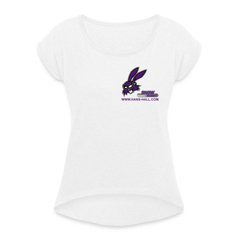SnowRabbit - Frauen T-Shirt mit gerollten Ärmeln