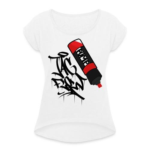 tag flow - Frauen T-Shirt mit gerollten Ärmeln