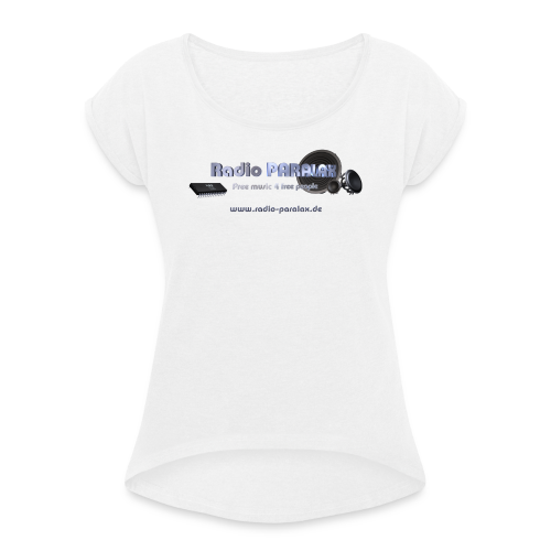 Radio PARALAX Facebook-Logo mit Webadresse - Frauen T-Shirt mit gerollten Ärmeln