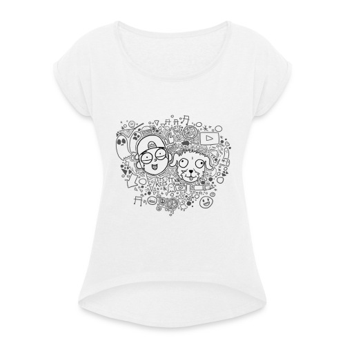 ROCKY EN KEES ZWART-WIT - Women's T-Shirt with rolled up sleeves