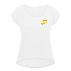 JP Logo - Vrouwen T-shirt met opgerolde mouwen