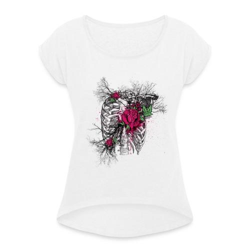 Rose Chest - Frauen T-Shirt mit gerollten Ärmeln
