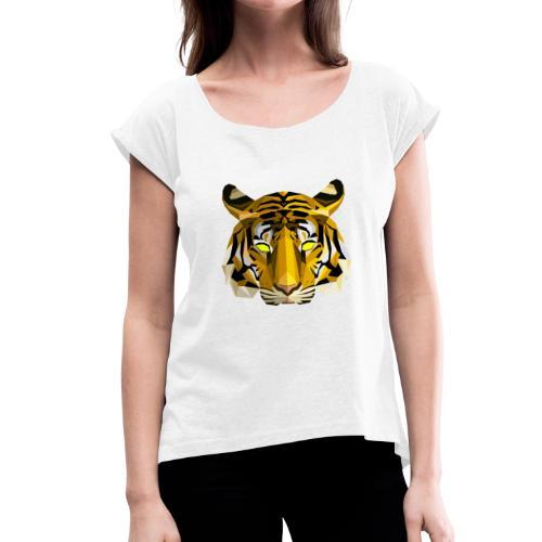 Tiger by CEV - Frauen T-Shirt mit gerollten Ärmeln