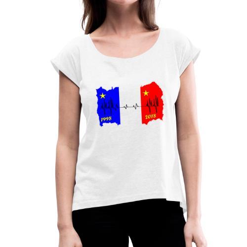 France 2018 coupe du monde les bleus - T-shirt à manches retroussées Femme