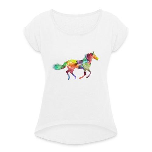 Cheval multicolore - T-shirt à manches retroussées Femme
