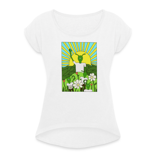 flower tee - Vrouwen T-shirt met opgerolde mouwen