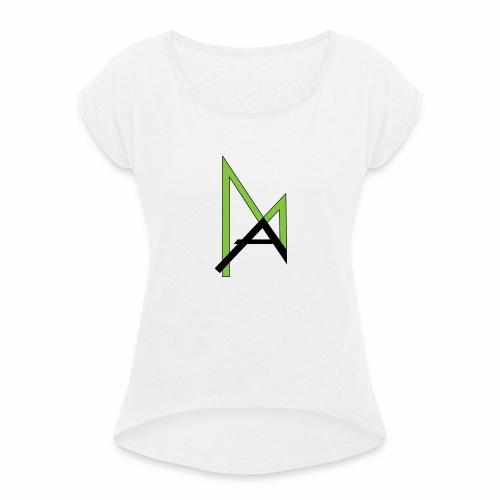AmosLogo - Frauen T-Shirt mit gerollten Ärmeln