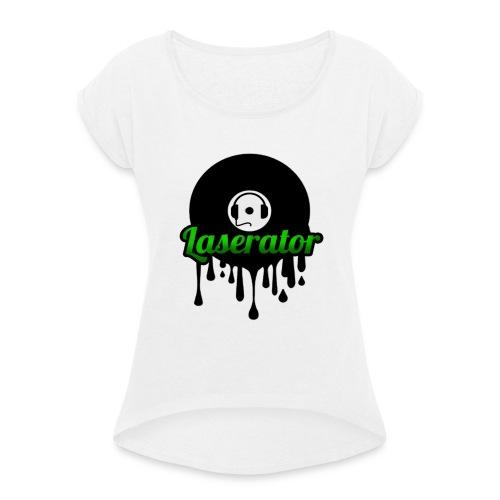 Laserator Logo - Frauen T-Shirt mit gerollten Ärmeln