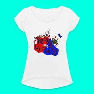 Frohe Watlavo - Frauen T-Shirt mit gerollten Ärmeln