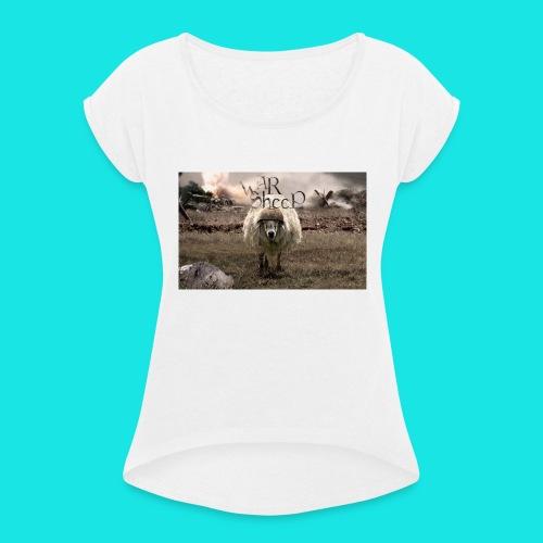 warsheep - Frauen T-Shirt mit gerollten Ärmeln