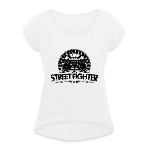 Streetfighter - Bandlogo (Black) - Women's T-Shirt with rolled up sleeves