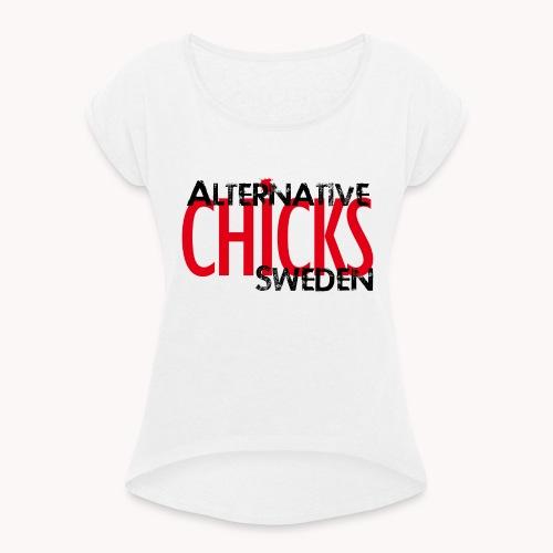 ACS BLACK - T-shirt med upprullade ärmar dam