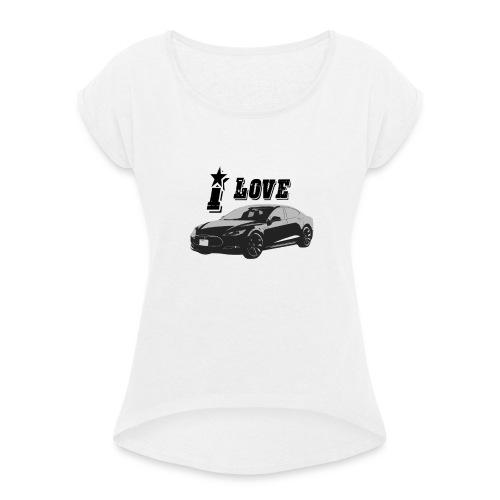 Tesla Model S - Vrouwen T-shirt met opgerolde mouwen