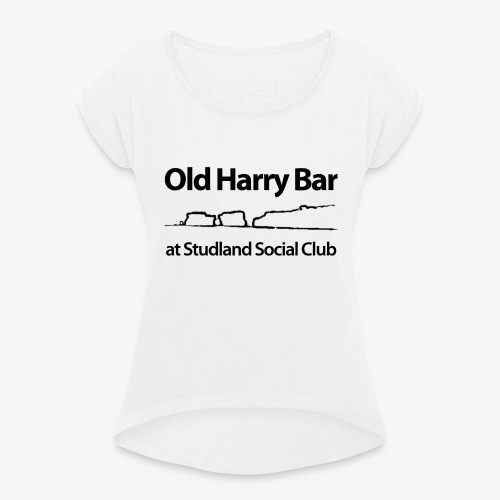 Old Harry Bar logo - black - Women's T-Shirt with rolled up sleeves