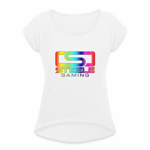 Rainbow logo - T-shirt med upprullade ärmar dam