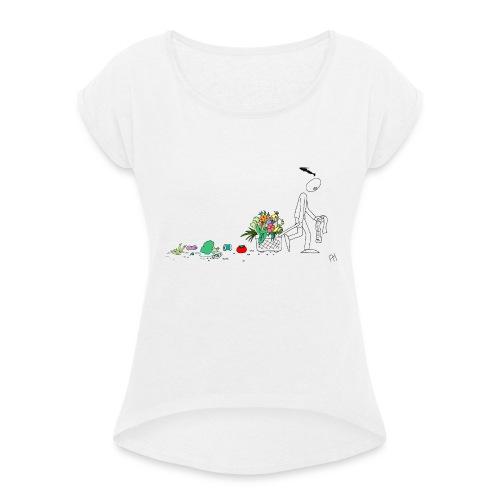 frukt og grønt handleveske - T-skjorte med rulleermer for kvinner