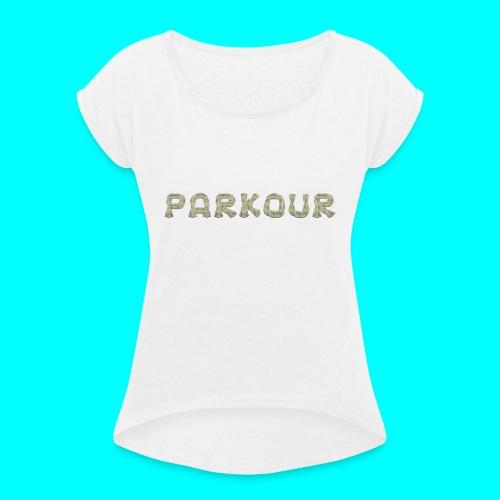 Freerunning motiv - T-shirt med upprullade ärmar dam