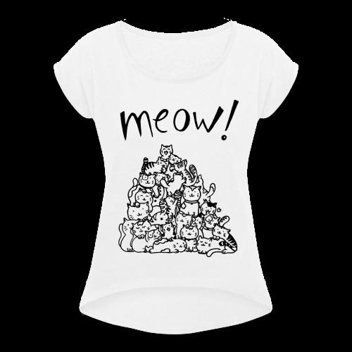 Meow! - Camiseta con manga enrollada mujer