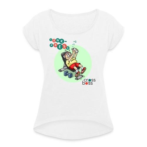 Tänkpress (ljus bakgrund) - T-shirt med upprullade ärmar dam