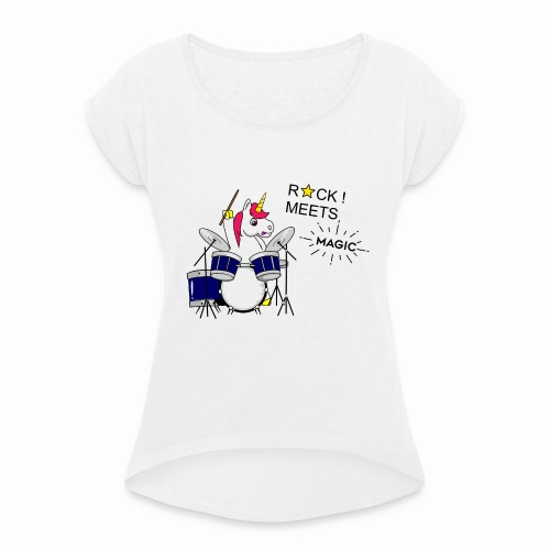 Einhorn Design - Frauen T-Shirt mit gerollten Ärmeln