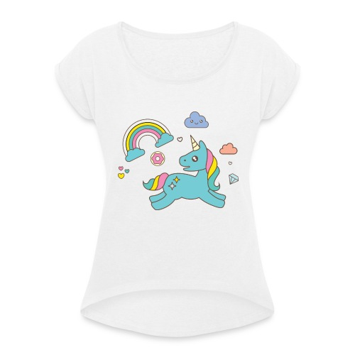 colored unicorn - Women's T-Shirt with rolled up sleeves