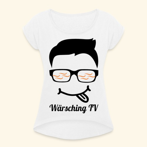 Logo WaerschingTV - Frauen T-Shirt mit gerollten Ärmeln
