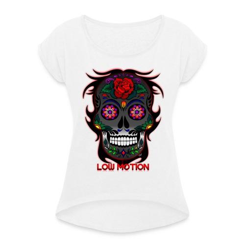 Low Motion Face Gray - Camiseta con manga enrollada mujer