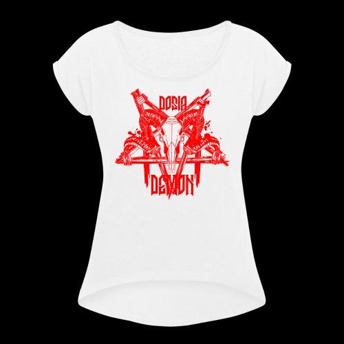 Dosia Demon Baphomet Logo - Frauen T-Shirt mit gerollten Ärmeln