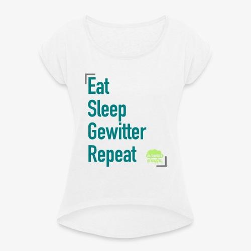Tagesrhythmus - Frauen T-Shirt mit gerollten Ärmeln
