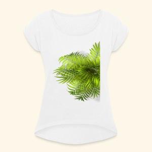 Palm T Shirt - Frauen T-Shirt mit gerollten Ärmeln