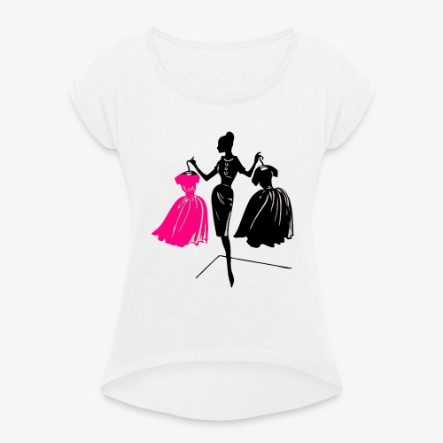 Mode - Frauen T-Shirt mit gerollten Ärmeln