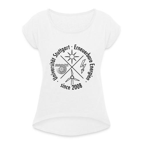 Erneuerbare Energien Schwarz - Frauen T-Shirt mit gerollten Ärmeln