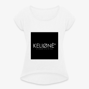 "Black KELIØNĖ ""design - Women's T-shirt with rolled up sleeves"