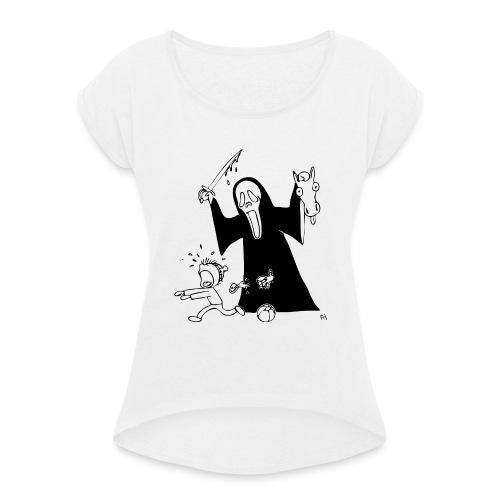 halloween t-skjorte - T-skjorte med rulleermer for kvinner