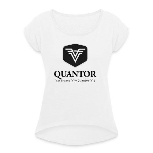 Quantor Logo Black - Frauen T-Shirt mit gerollten Ärmeln