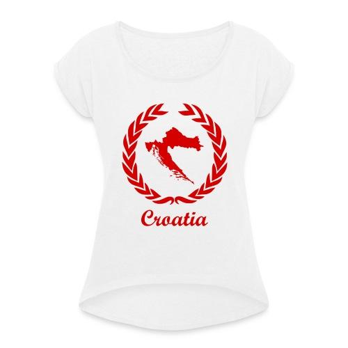 Connect ExYu Croatia Red Edition - Frauen T-Shirt mit gerollten Ärmeln