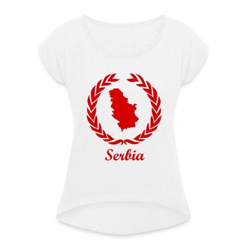 Connect ExYu Serbia Red Editon - Frauen T-Shirt mit gerollten Ärmeln