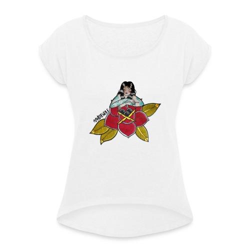 Lady Rose - Camiseta con manga enrollada mujer