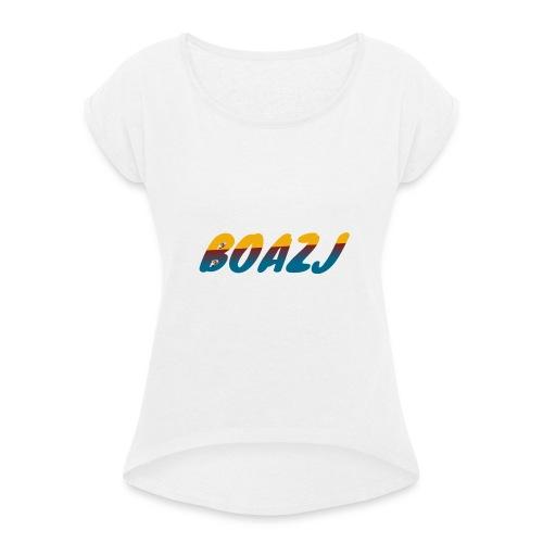 BoazJ Logo - Vrouwen T-shirt met opgerolde mouwen