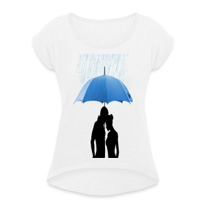 Love under the umbrella - Vrouwen T-shirt met opgerolde mouwen